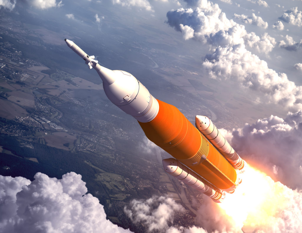 43e147c7 American Space Launch System Flying Over The Clouds. 3D Illustration. NASA  Images Not Used.